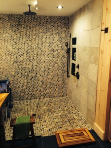 Our new accessible walk-in shower allows us to bathe Miles safely now.