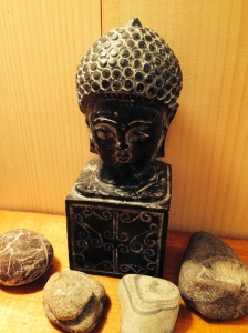 No Zen bathroom would be complete without a Buddha and some exotic rocks from both our own beaches and faraway places.