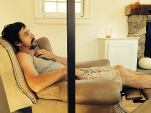 Stephen finally kicks back and relaxes in the room that he helped build.